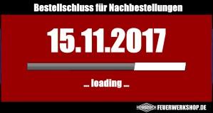 Nachbestellschluss für Silvesterfeuerwerk  Nachbestellungen: 15.11.2017