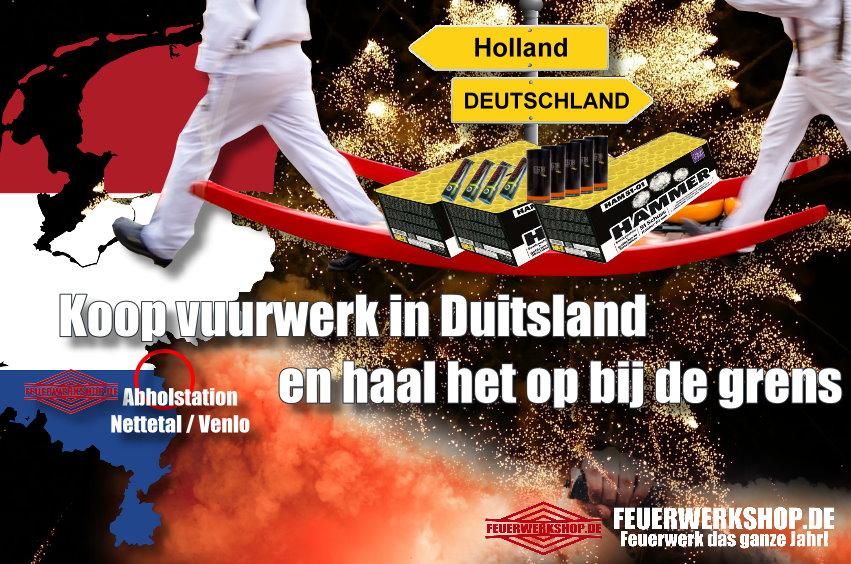 Feuerwerk Abholstation zu Silvester Grenze Holland