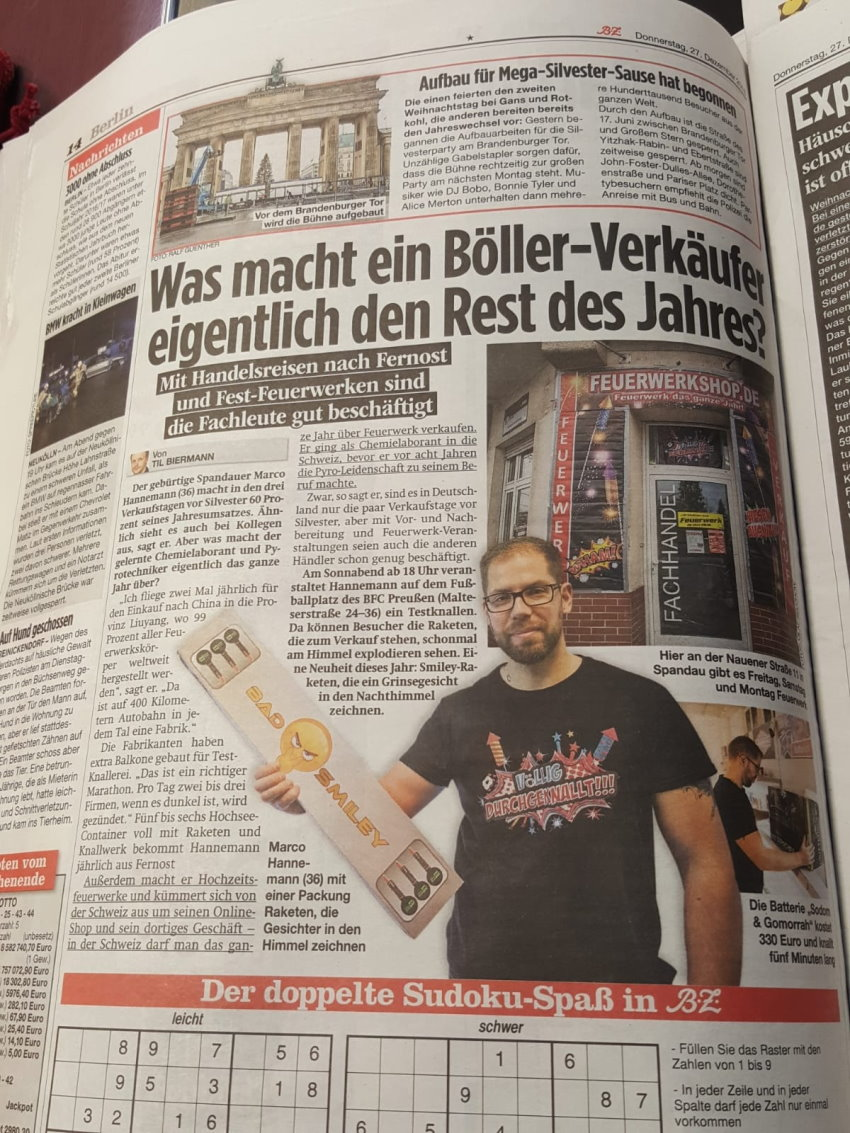 Feuerwerkshop in der Zeitung