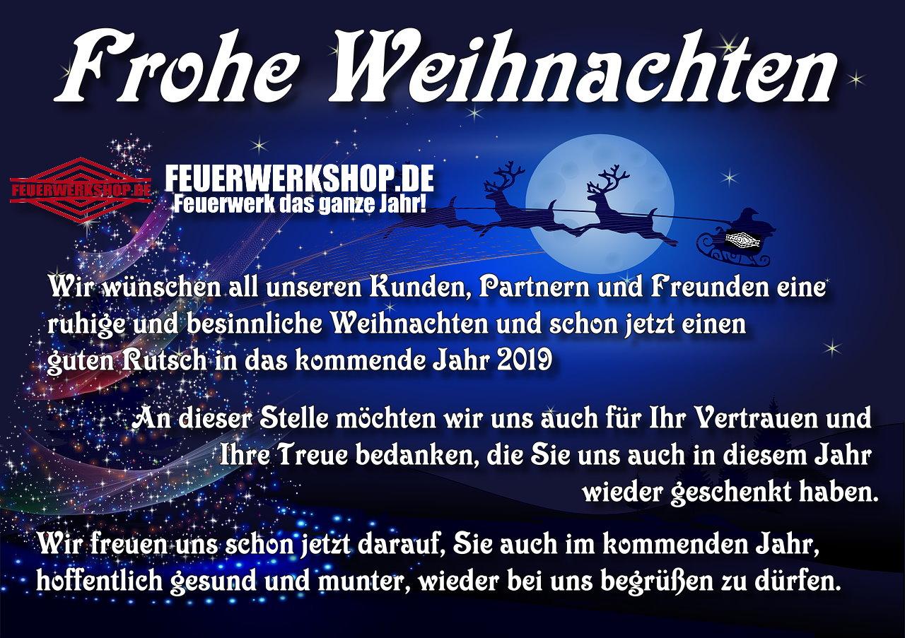 FEUERWERKSHOP.DE wünscht Frohe Weihnachten und einen guten Rutsch ins Neue Jahr