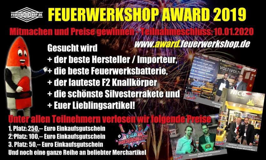 Der Feuerwerkshop Award 2019 - jetzt mitmachen und gewinnen!