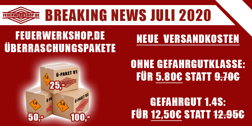 Neue Versandkosten bei feuerwerkshop.de - Feuerwerk Überraschungspakete